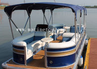 China Length 5.8m Aluminum Pontoon Boat Leisure With Bimini Top Customized Color company
