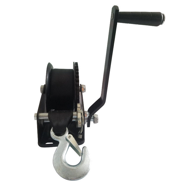 Black Portable Hand Winch With Brake 545kg Capacity With One Year Warranty