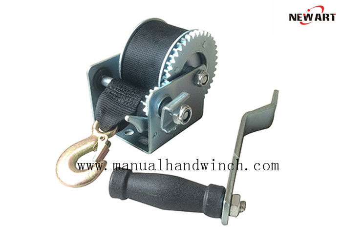 CE Approved 800lbs Lightweight Manual Hand Mechanical Winch , Hand Operated Winch With Strap