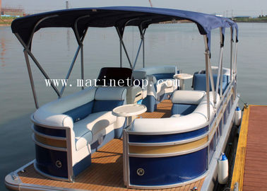 Length 5.8m Aluminum Pontoon Boat Leisure With Bimini Top Customized Color