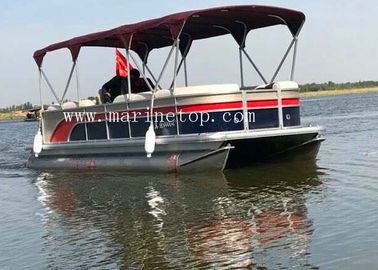 Custom Color Sightseeing High Performance Pontoon Boats , 7.8m Diy Pontoon Boat